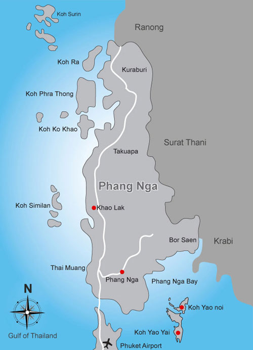 Location of Koh Phra Thong Andaman Sea Thailand
